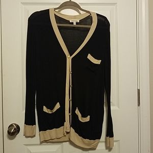 Navy and tan cardigan